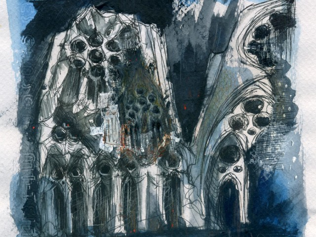 Sagrada Familia (Tracería in blue)
